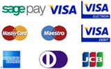 PayPal, Visa, Mastercard, Maestro, American Express, Diners Club, JCB